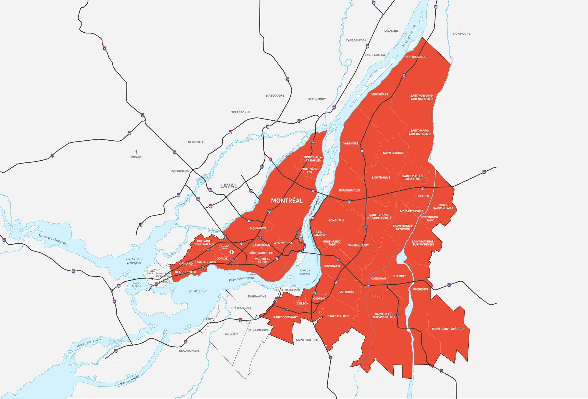Carte du territoire couvert